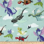 Alexander Henry Fabrics - Kids - Dragons Flight in Light Blue