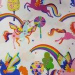 Alexander Henry Fabrics - Kids - Magic Rainbow Shine - Unicorns in White