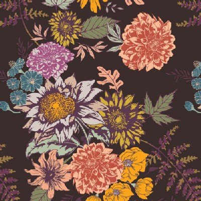 Art Gallery Fabrics - AGF Collection - Autumn Vibes - Floral Glow in Cocoa