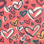 Art Gallery Fabrics - Knits - Happy Home - Where the Heart Is in Red