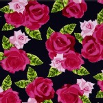 Benartex - English Rosey - Rose Bouquet in Navy