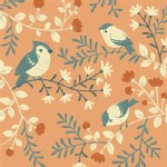 Birch Fabrics - Acorn Trail - Bird And Branches in Coral