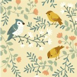 Birch Fabrics - Acorn Trail - Bird And Branches in Cream