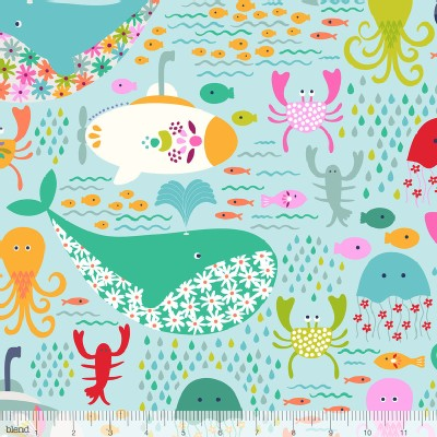 Blend Fabrics - Go Fish - Under the Sea in Light Blue