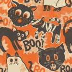 Blend Fabrics - Halloween - Spooktacular - Scaredy Cat in Orange