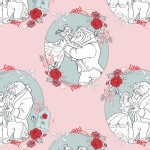 Camelot Fabrics - Disney Licensed - Beauty and the Beast - Love in Light Pink
