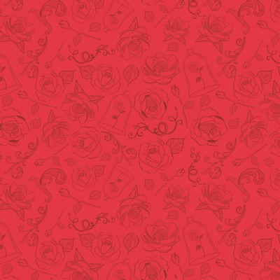 Camelot Fabrics - Disney Licensed - Beauty and the Beast - The Rose  in Ruby