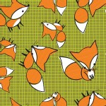 Camelot Fabrics - Frolicking Forest - Foxes in Green