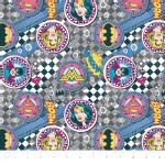 Camelot Fabrics - Girl Power 2 - Badges in Grey