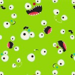 Camelot Fabrics - Monster Mash - Faces in Green