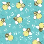 Camelot Fabrics - Theodore and Izzy - Izzy the Bee in Aqua