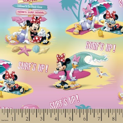 Character Prints - Mickey - Minnie Daisy Surfs Up in Pink Multi