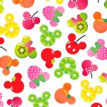 Character Prints - Mickey - Mickey Minnie Fruits in White