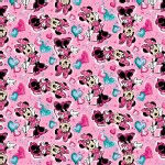 Character Prints - Mickey - Minnie Paint and Hearts in Pink