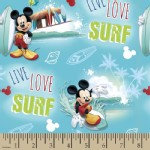 Character Prints - Mickey - Live Love Surf in Blue