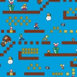 Character Prints - Nintendo - Super Mario Game Scenes in Blue