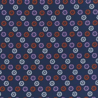 Cotton And Steel - Mustang - Flower Icons in Navy
