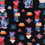 Cotton And Steel - Wonderland - Mad Tea Party in Black