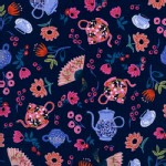 Cotton And Steel - Wonderland - Garden Party in Navy