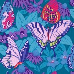 Free Spirit - Butterflies and Flowers - Butterflies in Aqua