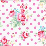 Lecien - Flower Sugar 2015 Fall - Main Floral Dots in White Pink Dots