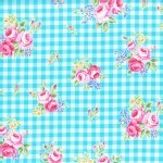 Lecien - Flower Sugar 2015 Fall - Floral Checkers in Aqua