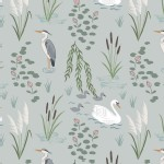 Lewis And Irene - Down By the River - Swan and Heron in Light Grey