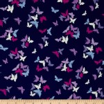 Michael Miller Fabrics - Florals - Flutter by Clouds in Navy