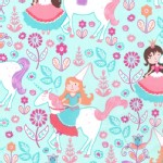 Michael Miller Fabrics - Kids - Princess Charming - Unicorn Princess in Seafoam