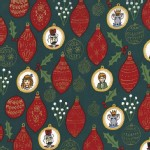 Michael Miller Fabrics - Nutcracker - Ornaments in Hunter Green