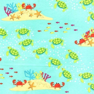 Michael Miller Fabrics - Sea Buddies - Meeting At the Reef in Seafoam