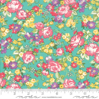 Moda Fabrics - Lawns - Regent Street 2018 - Floral Chelsea in Turquoise