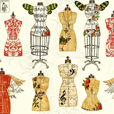 Quilting Treasures - Handmaidens - Angel Band - Dress Forms in Ecru