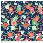 Riley Blake Designs - Knit Prints - On Trend - Main Floral in Navy