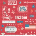 Riley Blake Designs - Stars and Stripes - Words in Red