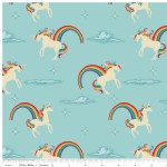 Riley Blake Designs - Unicorns and Rainbows - Unicorn Main in Aqua