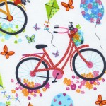 Timeless Treasures - A Day In the Park - Bicycles in White