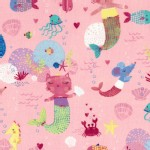 Timeless Treasures - Fun - Kitty Mermaids in Pink